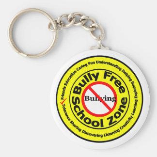Zona de la escuela libre del matón llavero redondo tipo pin