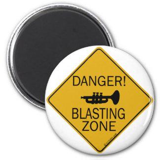 Zona de voladura del peligro imán redondo 5 cm