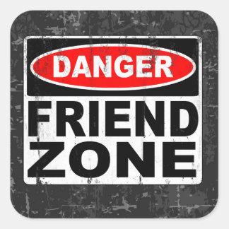 Zona del amigo calcomanía cuadradas