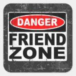 Zona del amigo pegatina cuadrada