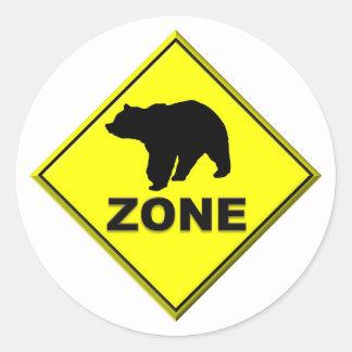 Zona del oso pegatina redonda
