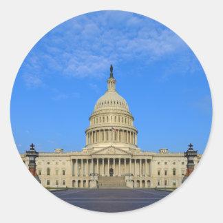 Zona este del edificio del capitolio de Estados Un Etiquetas Redondas