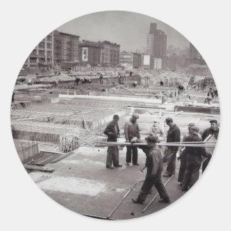 Zona este NYC del emplazamiento de la obra de Pegatina Redonda