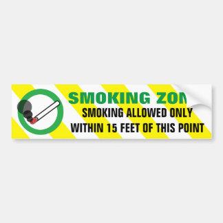 Zona que fuma permitida a 15 pies de señal de pegatina para auto