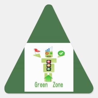 Zona VERDE Pegatinas De Triangulo Personalizadas