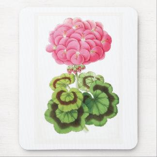"""""""Zonal Geranium"""" Vintage Flower Illustration Mouse Pad"""