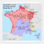 Zonas de empleo de Francia durante la Segunda Calcomanía Cuadradas Personalizada