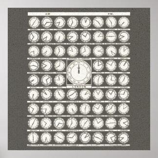 Zonas horarias de los relojes mundiales del arte póster