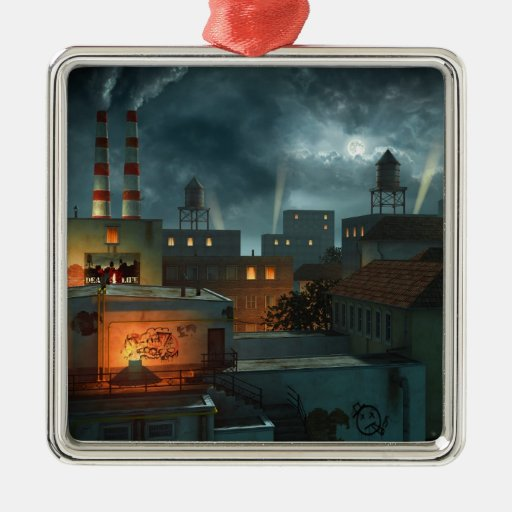 Zone Industrielle - Night Square Metal Christmas Ornament