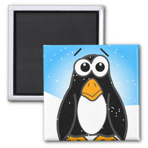 Zoned Out Penguin 2 Inch Square Magnet