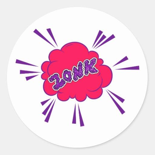 Zonk cómic pegatina redonda