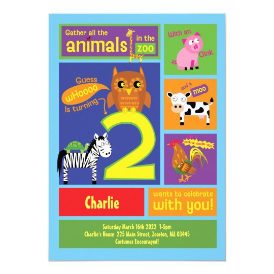 Zoo 2nd Birthday Party Invitations For 2 Year Old