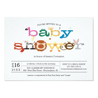 Zoo Animal Theme Baby Shower Invitation