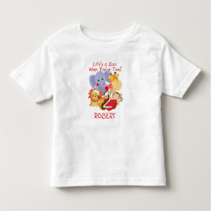 Zoo Animals 2nd Birthday Kids Customized T Shirt