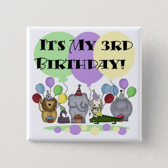 Zoo Animals 3rd Birthday Tshirts and Gifts Button
