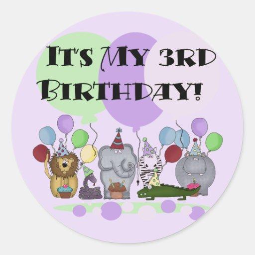 Zoo Animals 3rd Birthday Tshirts and Gifts Round Sticker