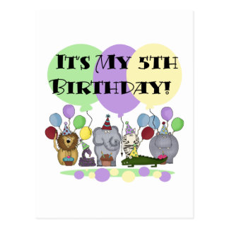 Zoo Animals 5th Birthday Tshirts and Gifts Postcard