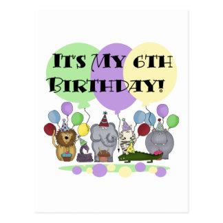 Zoo Animals 6th Birthday Tshirts and Gifts Postcard