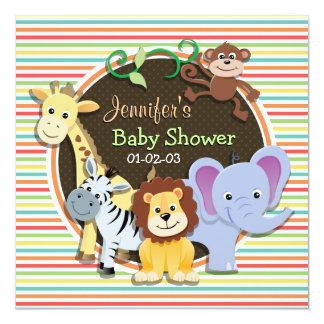 Zoo Animals Baby Shower, Bright Rainbow Stripes Card