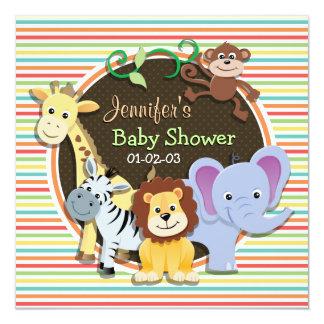 Zoo Animals Baby Shower, Bright Rainbow Stripes 5.25x5.25 Square Paper Invitation Card