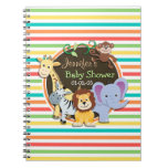 Zoo Animals Baby Shower, Bright Rainbow Stripes Notebook