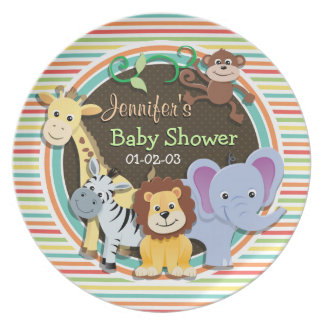Zoo Animals Baby Shower, Bright Rainbow Stripes Party Plates