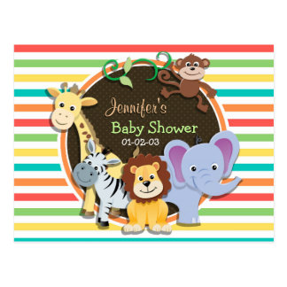 Zoo Animals Baby Shower, Bright Rainbow Stripes Postcard