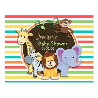 Zoo Animals Baby Shower, Bright Rainbow Stripes Postcard