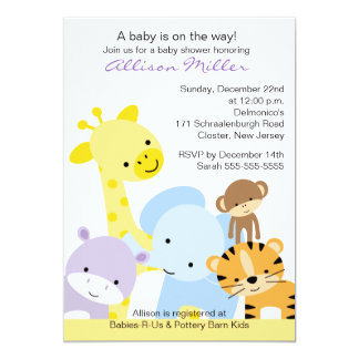 Zoo Animals Baby Shower Invitation