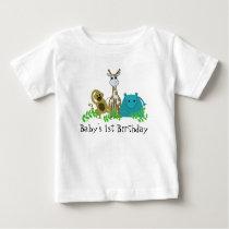 Zoo Animals Baby's 1st Birthday Baby T-Shirt