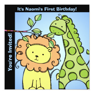 Zoo Animals Birthday Customized Invites