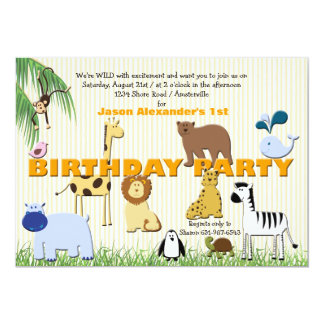 Zoo Animals Birthday Party Invitation