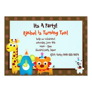 Zoo Animals Birthday party Invite