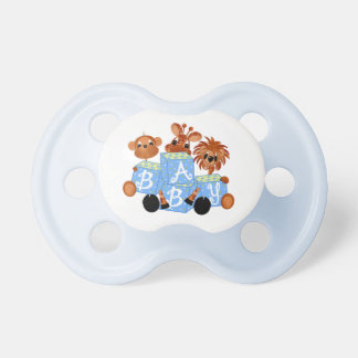 Zoo Animals Blue Baby Blocks Baby Pacifier