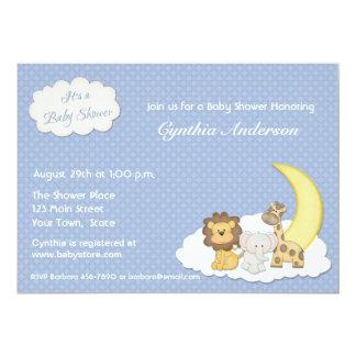 Zoo Animals, Blue, Baby Shower Invitation