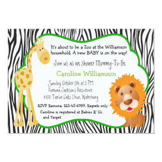 Zoo Animals Gender Neutral Baby Shower Card