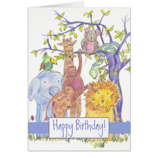Zoo Animals Happy Birthday Giraffe Lion Elephant Card