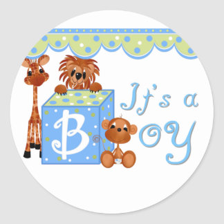 Zoo Animals It s a Boy Baby Annoucement Cards Stickers