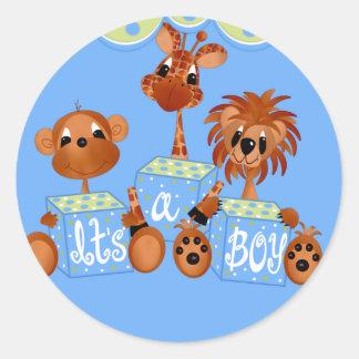 Zoo Animals It s a Boy Cards Round Sticker