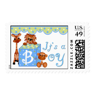 Zoo Animals It's a Boy Postage Stamps