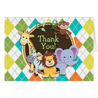 Zoo Animals on Colorful Argyle Card
