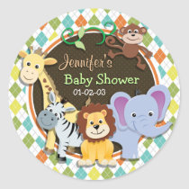 Zoo Animals on Colorful Argyle Classic Round Sticker