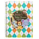 Zoo Animals on Colorful Argyle Note Books