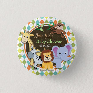Zoo Animals on Colorful Argyle Pinback Button