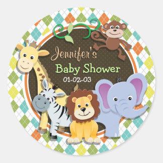 Zoo Animals on Colorful Argyle Classic Round Sticker