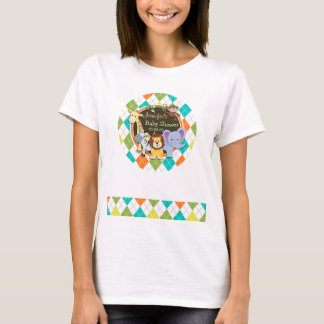 Zoo Animals on Colorful Argyle T-Shirt