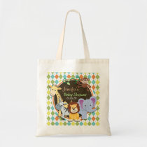 Zoo Animals on Colorful Argyle Tote Bag