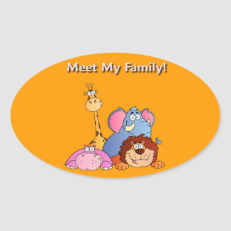Zoo Animals Oval Sticker