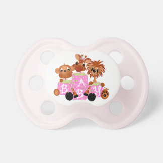 Zoo Animals Pink Baby Blocks Baby Pacifier