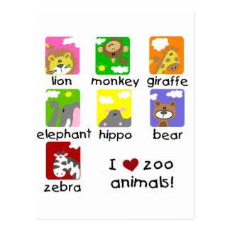 Zoo Animals Tshirts and Gifts Postcard